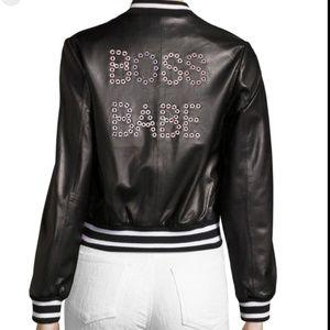 "ISO sz L Alice + Olivia leather bomber ""boss babe"""